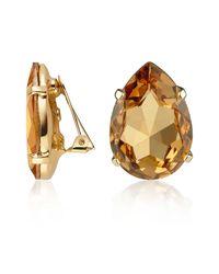 AZ Collection | Metallic Amber Tear-drop Clip-on Earrings | Lyst