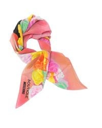 Moschino - Boutique Pink And Multicolor Olive Oyl Cartoon & Roses Printed Crepe Silk Square Scarf - Lyst