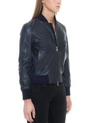 Forzieri - Midnight Blue Leather Women's Bomber Jacket - Lyst