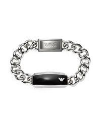 Emporio Armani - Metallic Silver Tone Stainless Steel Men's Bracelet for Men - Lyst