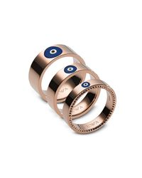 Emporio Armani - Metallic Rose Gold Stainless Steel Fashion Women's Triple Ring - Lyst