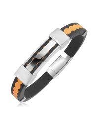 Forzieri - Orange Rubber And Stainless Steel Bracelet for Men - Lyst