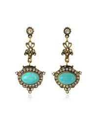 Alcozer & J | Metallic Magnesite Goldtone Brass Earrings W/crystals | Lyst