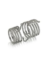 Bernard Delettrez - Seven Bands White Gold Articulated Ring W/diamonds Pave - Lyst