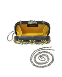 Corto Moltedo - Susan C Star Black Nappa Leather And Gold Flowers Crystals Pochette W/chain Strap - Lyst
