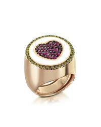 Azhar | Multicolor Rose Gold Plated Sterling Silver Adjustable Ring W/red Cubic Zirconia | Lyst