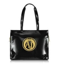 Armani Jeans | Black Faux Patent Leather Tote | Lyst