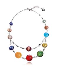 Antica Murrina | Metallic Redentore 3 - Multicolor Murano Glass And Silver Leaf Choker | Lyst