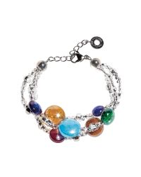 Antica Murrina - Redentore 1 - Multicolor Murano Glass Drops & Silver Leaf Bracelet - Lyst