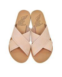 Ancient Greek Sandals | Thais Pink Nubuck Slide | Lyst