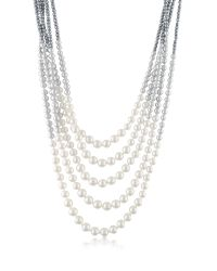 AZ Collection | Gray Multi-strand Long Bead Necklace | Lyst