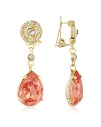 AZ Collection | Metallic Orange Clip-on Drop Earrings | Lyst