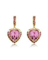 AZ Collection - Pink Heart Drop Earrings - Lyst