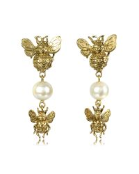 Bernard Delettrez | Metallic Bees And Pearls Bronze Earrings | Lyst