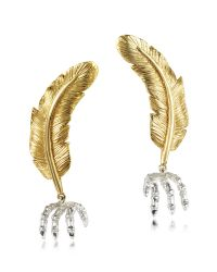 Bernard Delettrez | Metallic Bronze Feather W/silver Claw Earrings | Lyst