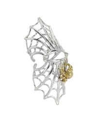 Bernard Delettrez | Metallic Spiderweb Silver And Bronze Articulated Ring | Lyst