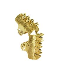 Bernard Delettrez | Metallic Golden Studs Articulated Bronze Ring | Lyst