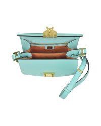 MCM Patricia Liquid Blue Leather Small Shoulder Bag