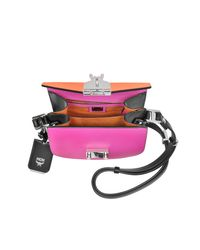 MCM Patricia Atomic Orange And Electric Pink Leather Mini Shoulder Bag