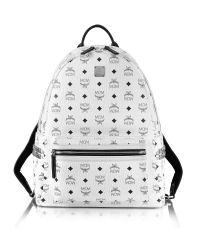 MCM - White Medium Stark Backpack - Lyst