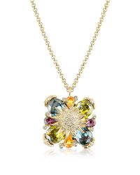AZ Collection - Multicolor Gold-plated Flower Drop Necklace - Lyst