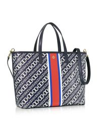 Tory Burch - Blue Gemini Link Navy Coated Canvas Small Tote Bag - Lyst