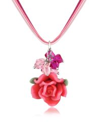 Dolci Gioie - Pink Rose Pendant W/lace - Lyst
