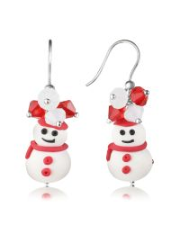 Dolci Gioie | White Snowman Pendant Earrings With Crystals | Lyst