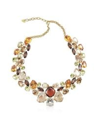 AZ Collection - Brown Multicolor Crystal Necklace - Lyst