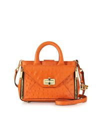 Diane von Furstenberg - Orange Embossed Ostrich Leather Mini Secret Agent Tote - Lyst