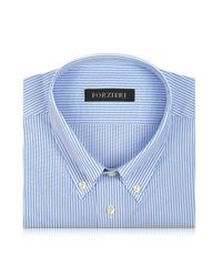 Forzieri - Light Blue Striped Non Iron Cotton Dress Shirt for Men - Lyst
