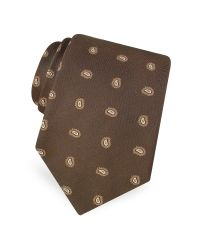 Forzieri | Brown Mini Paisley Pattern Woven Silk Tie for Men | Lyst