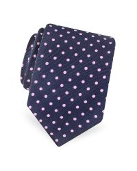 FORZIERI | Blue Gold Line Polkadot Woven Silk Tie for Men | Lyst