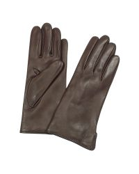 FORZIERI - Women's Dark Brown Cashmere Lined Italian Leather Gloves - Lyst