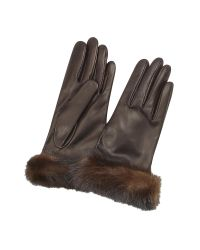 FORZIERI | Women's Dark Brown Italian Nappa Leather Gloves W/mink Fur | Lyst