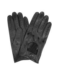FORZIERI   Women's Black Perforated Italian Leather Driving Gloves   Lyst