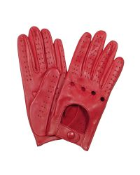 FORZIERI - Women's Red Perforated Italian Leather Driving Gloves - Lyst