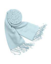 FORZIERI - Blue Solid Pure Pashmina Fringed Shawl - Lyst
