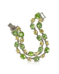 FORZIERI | Green And Pale Yellow Crystal Bracelet | Lyst