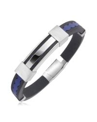 FORZIERI - Blue Rubber And Stainless Steel Bracelet for Men - Lyst