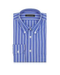Forzieri - Blue And White Striped Button Down Men's Shirt for Men - Lyst