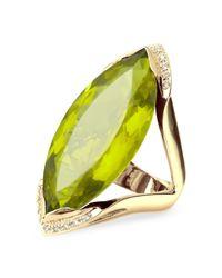 FORZIERI | Green Gemstone And Diamond Yellow Gold Fashion Ring | Lyst