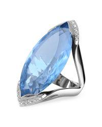 FORZIERI   Blue Topaz And Diamond White Gold Fashion Ring   Lyst