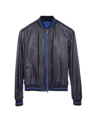 FORZIERI | Navy Blue Perforated Leather Men's Jacket for Men | Lyst