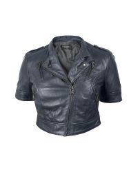 FORZIERI - Blue Motorcycle Cropped Leather Jacket - Lyst
