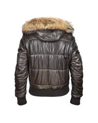 FORZIERI - Brown Fur-trim Bomber Jacket for Men - Lyst