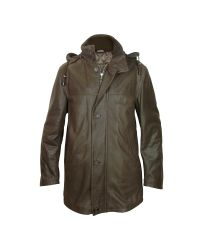 FORZIERI   Detachable Hood Dark Brown Leather Car Coat for Men   Lyst