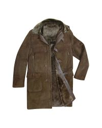 FORZIERI | Detachable Hood Men's Dark Brown Shearling Coat for Men | Lyst