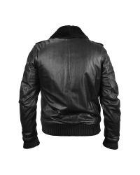 FORZIERI - Men's Black Leather Jacket W/detachable Shearling Collar for Men - Lyst