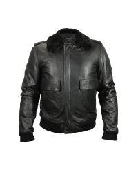 FORZIERI | Men's Black Leather Jacket W/detachable Shearling Collar for Men | Lyst